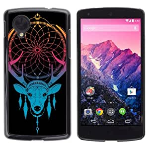 YOYOSHOP [Cool Neon Deer Dreamcatcher] LG Google Nexus 5 Case