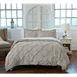 Great Bay Home Signature Pinch Pleated Pintuck Duvet Cover with Button Closure. Luxuriously Soft 100% Brushed Microfiber with Textured Pintuck Pleats and Corner Ties (Full/Queen, Taupe)