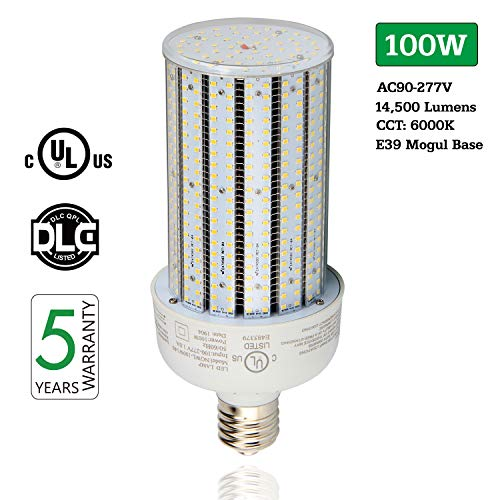LED Corn Light Bulb 100W, 14500LM 6000K Cool White Corn LED Bulbs, AC90-277V E39 Mogul Base, Replace 400W HPS HID Metal Halide Lamp for Garage Warehouse Barn Parking Lot Area Lighting, UL GLC Listed (6500k Metal Halide Lamp)