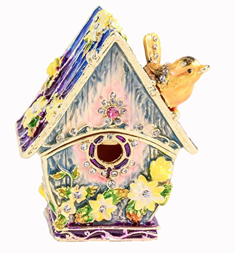 Bird House Trinket Box, Swarovski Crystal, Hand Painted Blue Enamel Over Pewter, Inside of Box with Lovely Enamel, Gold Plating, L 2.25 x H 2.50 x W 1.50