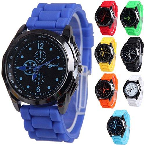 Yunanwa Wholesale 8 Assorted Pack Unisex Silicone Watch Men Women Black Case (White Geneva Watches For Men)
