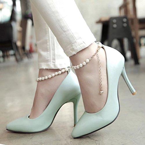 AIYOUMEI Damen Spitz Knöchelriemchen Pumps mit Perle und 6cm Absatz Stiletto High Heels Kleid Schuhe Blau