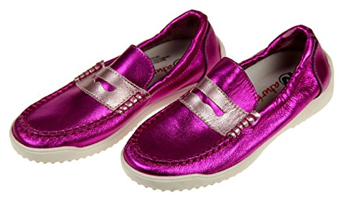 (Naturino Girls Pink Metallic Penny Loafers Slip-on Size 32)
