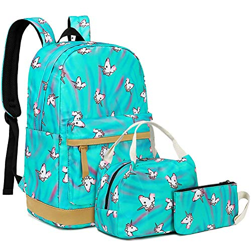 FLYMEI Canvas Backpack, College Bookbag for Teen Girls/Women, Lightweight Shoulder Bag, Laptop Bag (Unicorn Green)