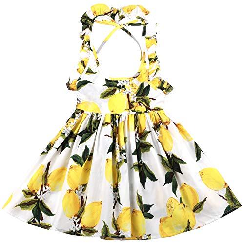 Flofallzique Little Girls Lemon Dress Easter Baby Clothes Backless Toddler Sundress for 1-8 Years Old