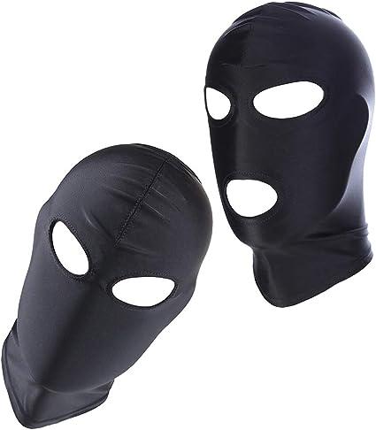 PU Leather Soft Elastic Hood Face Open Mask Breathable Holes White