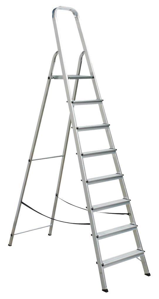 Draak Step Ladder 8 Step - Non Slip Treads - Ladder Made From Lightweight Aluminium Certified to BS EN 131 Part 1-3 DRAAK-ALUM-SL-8