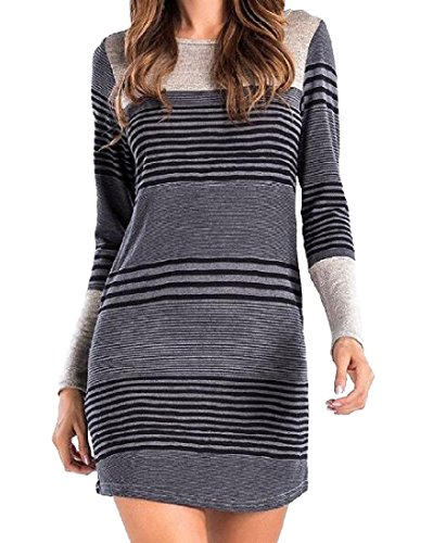 Striped Long Straight Women s 2 Neck Sleeve Coolred Crew Dress qSE1xC