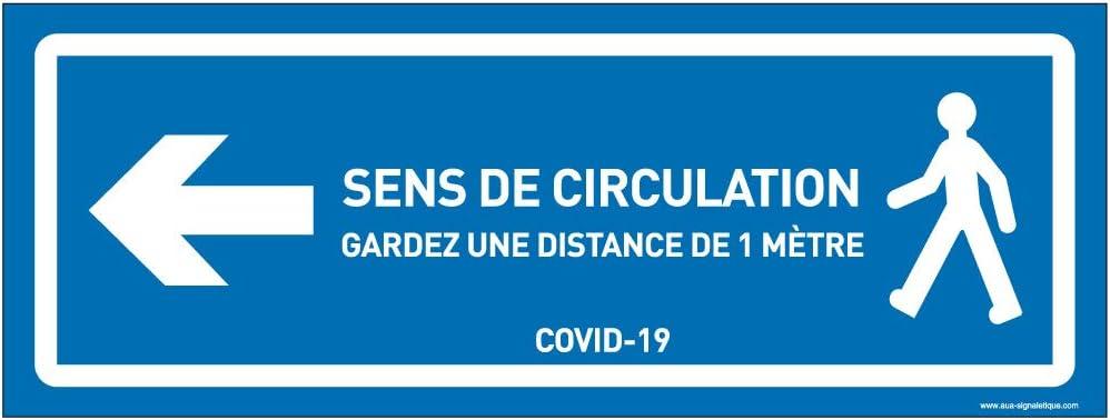 AUA SIGNALETIQUE Bleu 420x160 mm Autocollant lamin/é Signalisation au Sol coronavirus COVID-19 Circulation /à Gauche