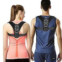 VANWALK Adjustable Back Posture Corrector Brace for Women Men Kids – Chest 27.5-47 inches - Improve Bad Posture, Thoracic Kyphosis, Shoulder Alignment, Upper Back Pain Relief (Black)