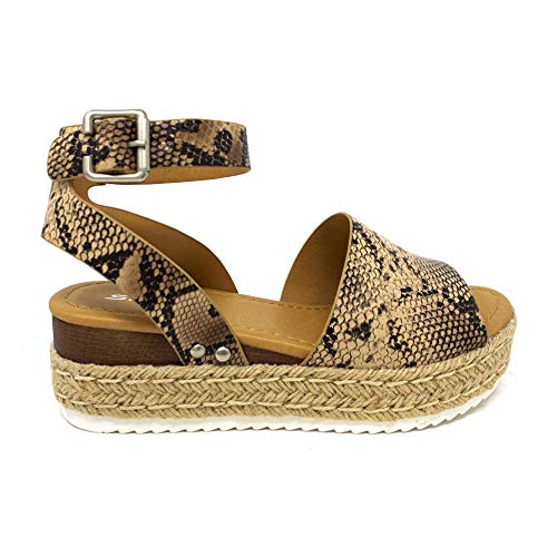 SODA Topic Topshoe Avenue Women's Open Toe Ankle Strap Espadrille Sandal (11 M US, NAT -