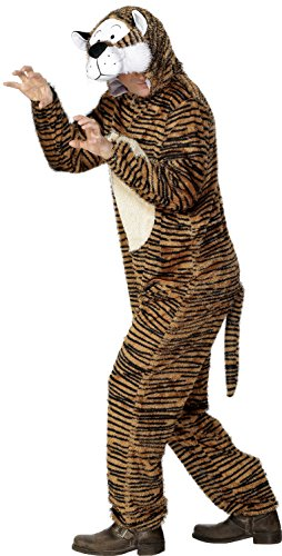 Smiffy's Adult Unisex Tiger Costume, Jumpsuit with Hood, Party Animals, Serious Fun, Size M, 31679 (Tiger Costume Adults)