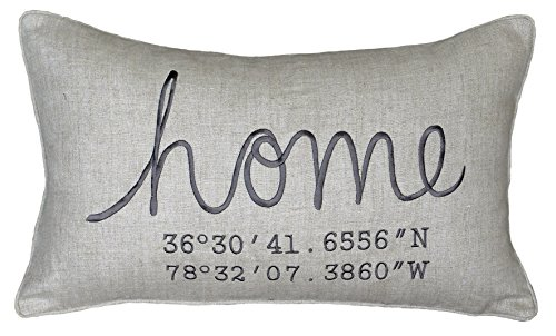 DecorHouzz Housewarming Gift, Wedding Gift, New Home Gift, Coordinates Pillow Cover, Longitude Latitude Family Name Pillow Cover Embroidered Pillow Pillow Cases Throw Pillow