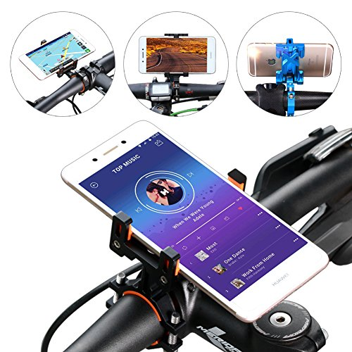 SpoLite Chrome Bike Phone Mount for Motorcycle-Bike-Bicycle Handlebars,Adjustable,Bike Phone Holder Fits Cell Phone iPhone X,8|8 Plus,7|7 Plus,6s|6s Plus,Galaxy S7,S6 For Cycling. (BM04 Black) by SpoLite (Image #5)