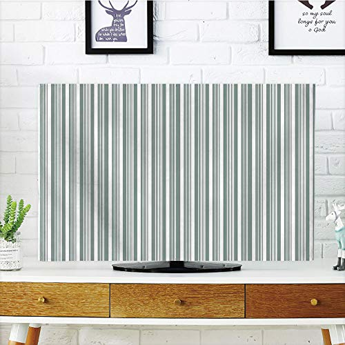 iPrint LCD TV Cover Multi Style,Modern Decor,Vertical Thin and Bold Stipes Optical Pattern Retro Style Abstract,Light Sage Green White,Customizable Design Compatible 32