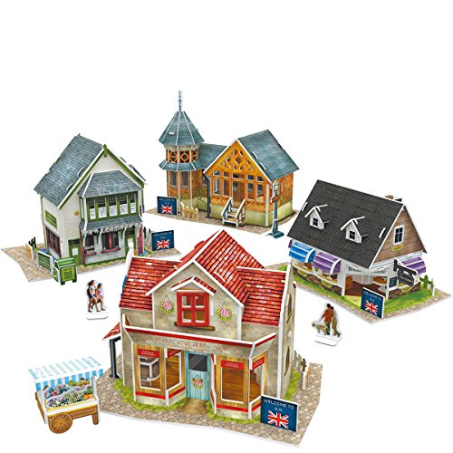 CubicFun 3D Britain Puzzles Architectural Cityscapes Building Model Kits, 171 Pieces, W3186h (Paper House Kit)