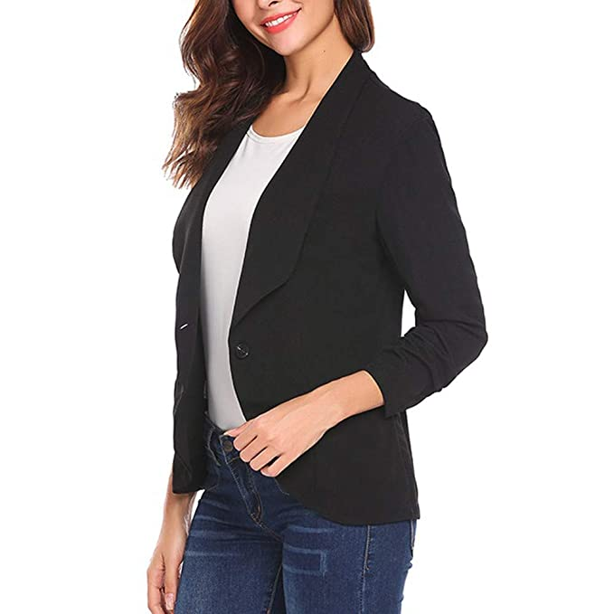 Amazon.com: Gallity Womens Coat OL Style 3/4 Sleeve Blazer ...