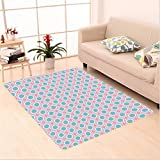 Nalahome Custom carpet Kids Nursery Theme Cheerful Mix Pattern Playroom Baby Children Artwork Seafoam Yellow Baby Pink area rugs for Living Dining Room Bedroom Hallway Office Carpet (32.4''x118'')