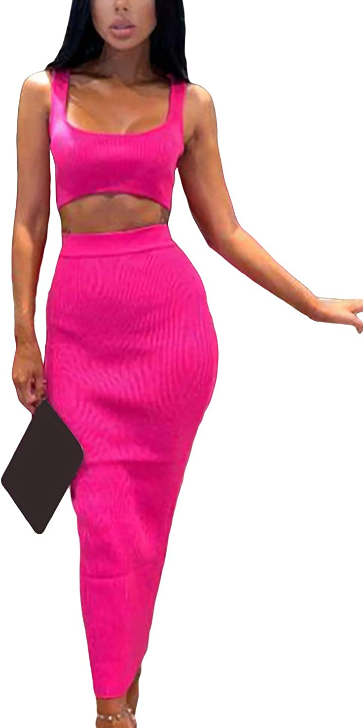 Velius Womens Scoop Neck Neon Bodycon Two Piece Pencil Maxi Dress Clubwear Outfits
