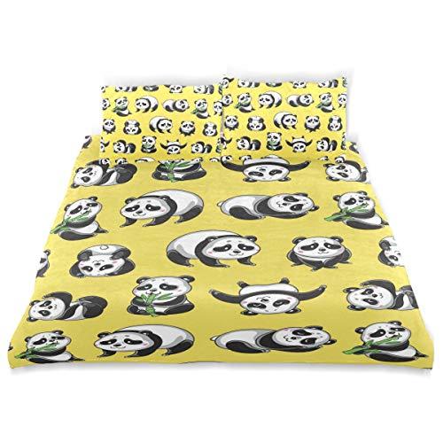 Amanda Billy Yellow Bamboo Panda Bear Bedding 3 Piece Set Bedding Set Full Set 66 × 90 in Bed Cover, 2 Pillowcase Pattern Soft Microfiber Bed Cover Set Children's ()