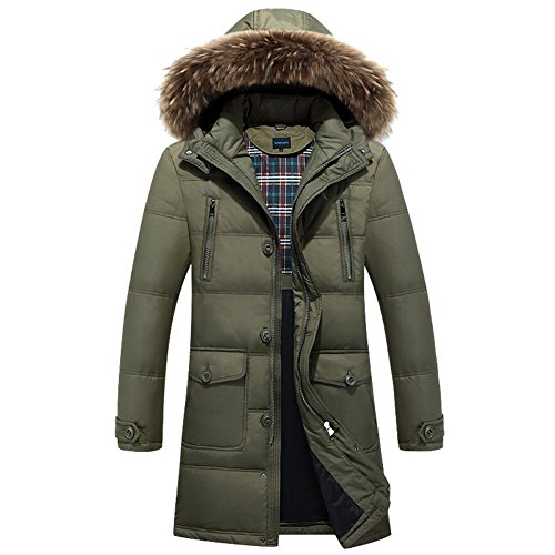down men's jacket zipper green warm padded collar coats eu56 plush parka removable pocket eu46 hooded side long army fSwprqfx