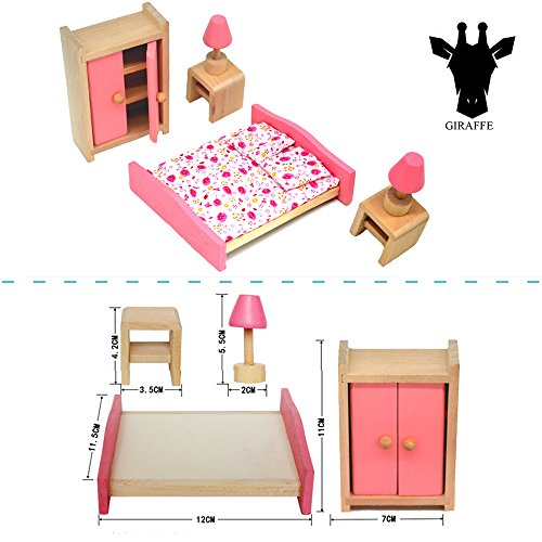 Giraffe 4 Set Pink Wooden Dollho...