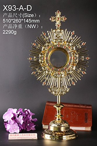 HaoLin Gold Plated Ornate Brass Monstrance Reliquary for Church or Home Altar X93-A-D. Our Company Have 105 Kinds of Monstrance Reliquary for Your Choice.
