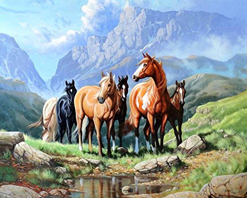 21secret 5D Diamond Diy Painting Full Drill Handmade The Horses in the Valley Cross Stitch Home Decor Embroidery Kit by 21secret
