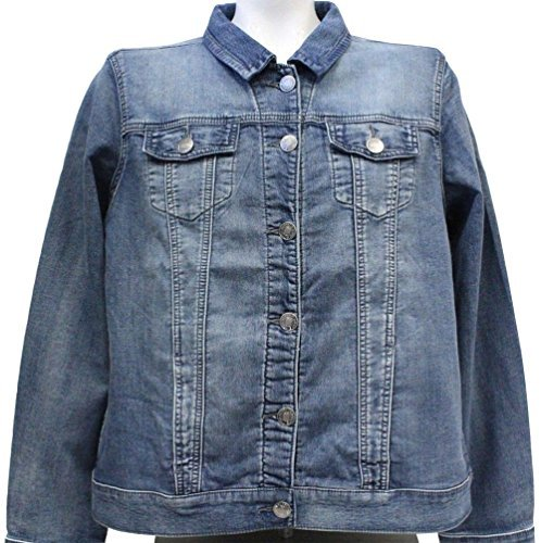 Buffalo David Bitton Women's Knit Stretch Denim Jean Jacket (Blue, X-Large) - Dress Stretch Denim Knit