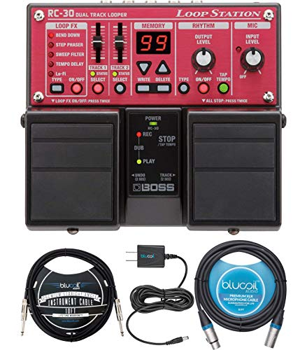 BOSS RC-30 Loop Station Bundle with AA Alkaline Batteries, Blucoil Slim 9V 670ma Power Supply AC Adapter, 10-FT Balanced XLR Cable, and 10-FT Mono Instrument Cable (Boss Rc 30 Dual Track Looper Loop Station)