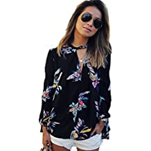 MIXMAX Women Casual Long sleeve Floral Print Chiffon Blouse Shirts Tops