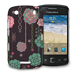 Phone Case For BlackBerry Curve 9380 - Illustrated Pink & Teal Roses Designer Wrap-Around