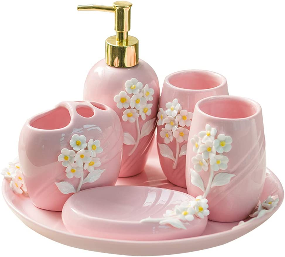 Amazon Com Beautiful And Durable 6 Piece Pink Bathroom Accessories Sets With Two Toothbrush Cups Toothbrush Holder Lotion Bottle Soap Dish And A Tray Home Kitchen
