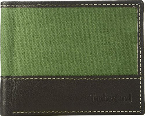 (Timberland Men's Canvas & Leather Billfold Gift Set,pesto,One Size)