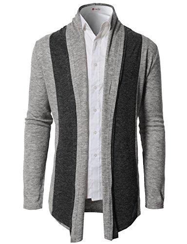 H2H Men Classic Notched Lapel Blazer Cardigan Sweater Khaki US M/Asia L (CMOCAL020) by H2H (Image #2)