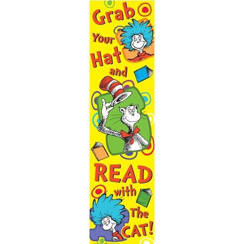 Eureka Dr. Seuss Vertical Classroom Banner, Grab Your Hat, Measures 45 x (Hat Bulletin Board)