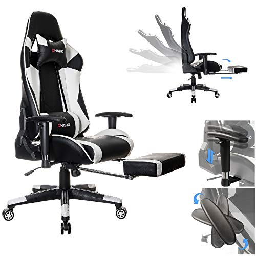 OHAHO Gaming Chair Racing Office Computer Game Chair Ergonomic Backrest and Seat Height Adjustment with Pillows Recliner Swivel Rocker Headrest and Lumbar Tilt E-Sports Chair (Black/White)