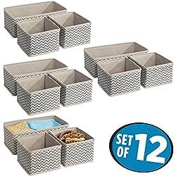 mDesign Fabric Closet Storage Organizer Box for Underwear, Socks, Bras, Tights, Leggings - Set of 12, Medium, Taupe/Natural