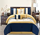 7 Piece Modern Oversize Yellow / Navy Blue / Beige Leaf Embroidered ...