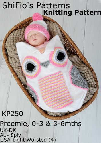 Knitting Pattern - KP250 - Owl Cocoon Papoose - Preemie, 0-3mths, 3-6mths - UK Terminology