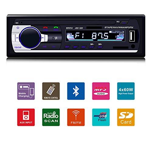 Fixget Car Stereo with Bluetooth, In-Dash Single Din Car Radio, Car MP3 MP5 Player USB/SD/AUX/AM/FM with Remote Control - Car Audio Am Fm