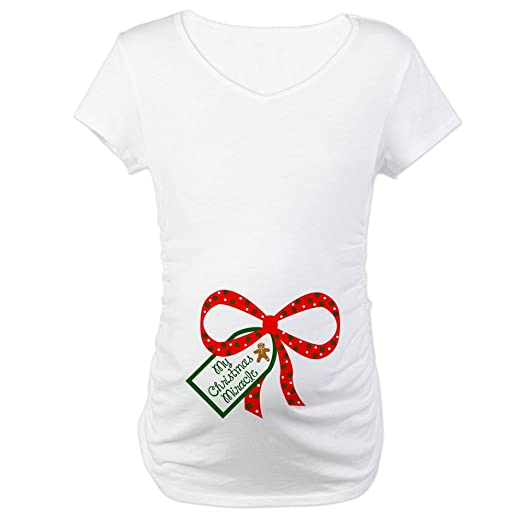 37abe7015b440 CafePress My Christmas Miracle Cotton Maternity T-Shirt, Cute & Funny Pregnancy  Tee White