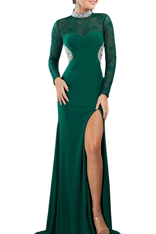 OKDRESS High Neck Long Sleeves Side Split Beaded Lace Appliques Evening Dresses