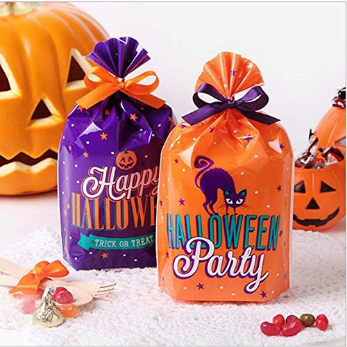 Halloween Trick Or Treat Bag Ideas (Halloween Party Favor Cellophane Bags, 50 Pack Trick or Treat Bags Pumkin Bags for Kids Party Favors, Snacks, Decoration,Favor, Goodie Bags)