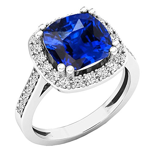 Dazzlingrock Collection 10K 9X9 MM Cushion Lab Created Blue Sapphire & Round Diamond Engagement Ring, White Gold, Size 8