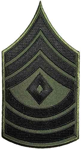 Papapatch 1st Sergeant E-8 Chevrons Rank US Army Military Uniform Shoulder Embroidered Applique Sewing Iron on Patch - OD (Olive Drab)(1 Piece)(E8-OD) (Army Chevron)