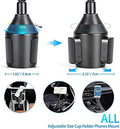 Car Phone Mount,Universal Smart Phone Adjustable Automobile Cup Holder Phones Mount for iPhone 11 pro//Xs//Max//X//XR//8//7//6 Plus Samsung Galaxy S10//S9//S8 Note 9 Nexus Sony、HTC、Huawei、LG and All Smartphone