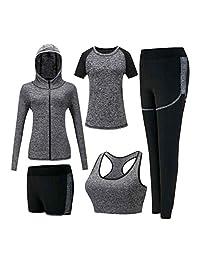 Aiweijia Women's Tracksuits Sets Soft Comfy Running Ladies Yoga 5 Piece Set