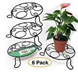 "Metal Planter/Plant Stand Flower Pot Holder 8"" x 2"" Indoor or Outdoor (6 Pack)"