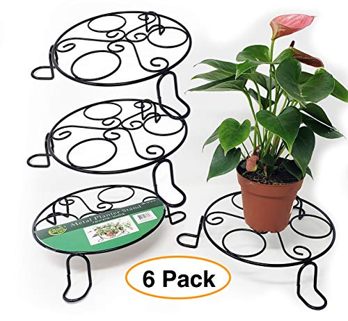 """Metal Planter/Plant Stand Flower Pot Holder 8"""" x 2"""" Indoor or Outdoor (6 Pack) by Garden Ease"""